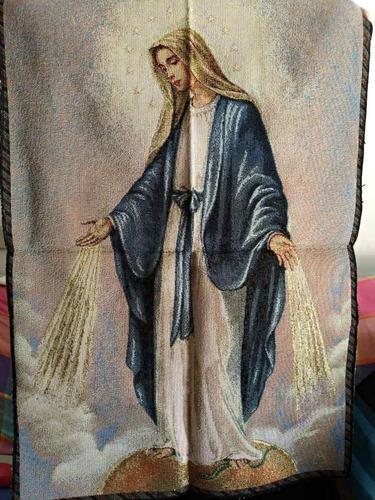 Tela Tipo Gobelino Italiano Virgen De La Medalla Milagrosa