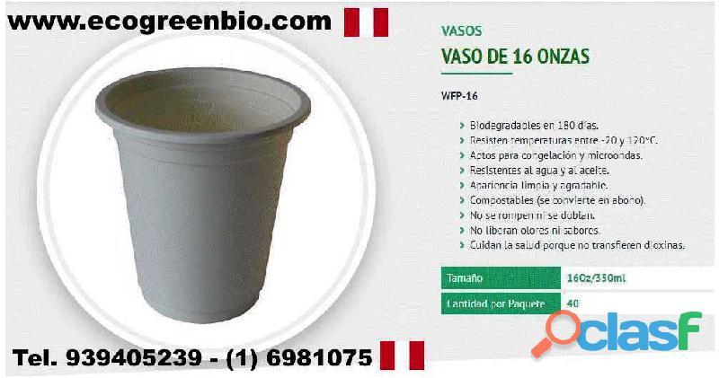 VASOS ECOLÓGICOS biodegradables Lima Perú Pueblo libre