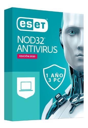 Antivirus Eset Nod32 2020 Licencia Original 1 Año X3 Pc