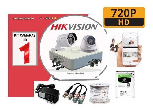 Kit 1 Camara Hikvision 720p Dvr Disco 500gb Cable Accesorios