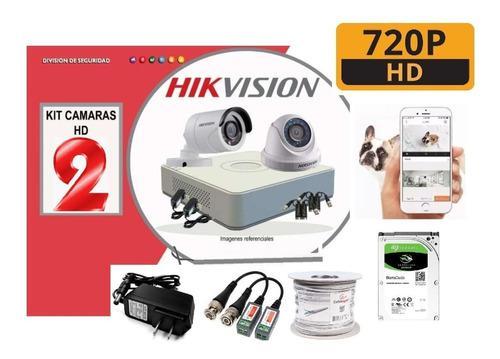 Kit 2 Camaras Hikvision 720p Dvr Disco500gb Cable Accesorios
