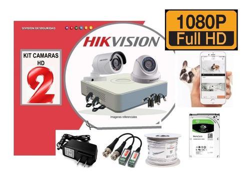 Kit 2 Camaras Hikvision Fhd 1080p Dvr 500gb Cable Accesorios