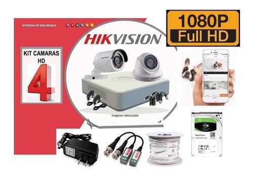 Kit 4 Camaras Hikvision Fhd 1080p Dvr 1tb Cable Accesorios