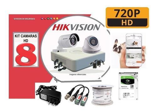Kit 8 Camaras Hikvision 720p Dvr Disco 1tb Cable Accesorios