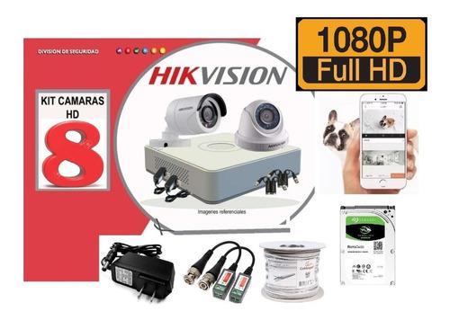 Kit 8 Camaras Hikvision Fhd 1080p Dvr 1tb Cable Accesorios