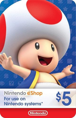 Nintendo Eshop $5 Dólares 3ds Switch Wii U Código Digital