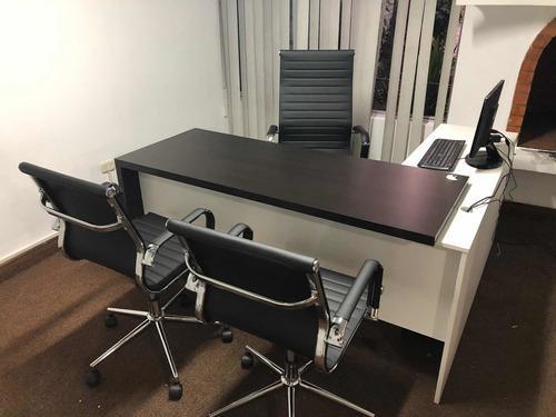 Oficina Escritorio E4 + 3 Sillas Maje Premium