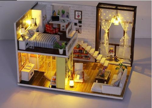 Casa Muñeca En Miniatura De Madera Con Muebles Para Armar