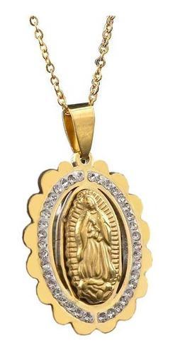 Collar Mujer Virgen De Guadalupe Dorado Acero Enchapado Oro