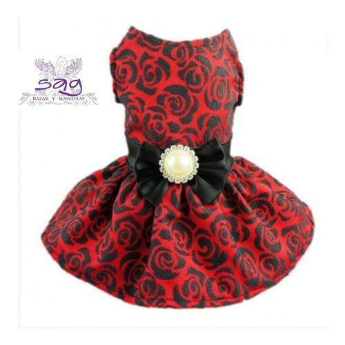 Vestido Para Mascota - Rojo Con Rosas Negras En Alto Relieve