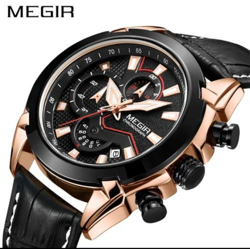 Reloj Hombre Sport Elegante Cronografo De Cuero Nuevo 2065