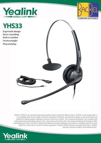 Yealink - Headset Yhs33 Para Teléfono Ip - !nuevo¡