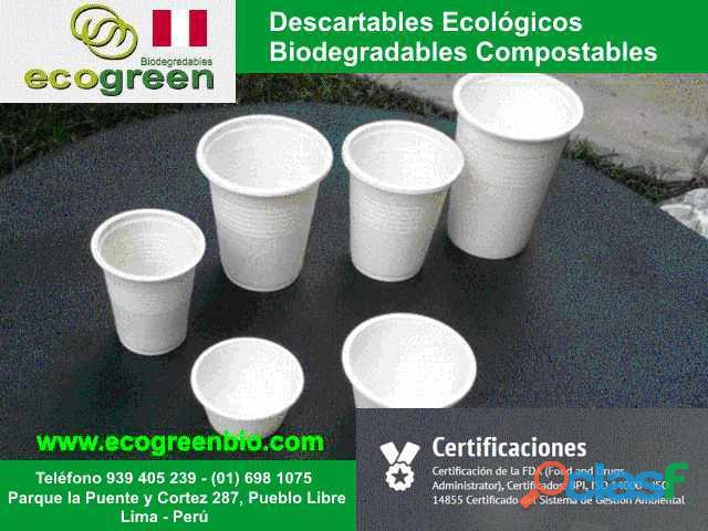 VASOS PLATOS CUBIERTOS biodegradables ecológicos Lima Perù