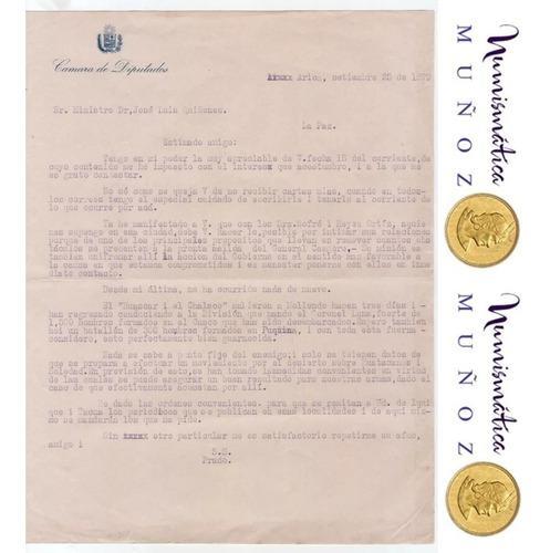 1879 Guerra Del Pacifico Carta Mariano I. Prado A La Valle