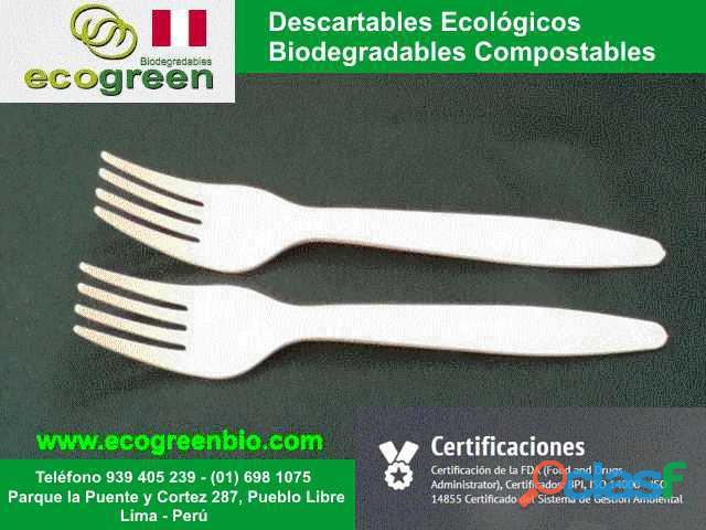 CUBIERTOS biodegradables ecológicos Lima Perú tenedores