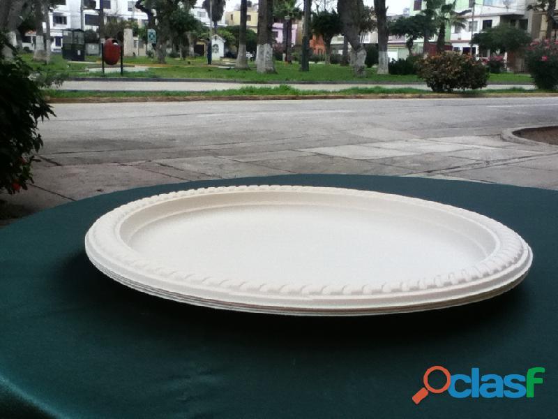 Platos biodegradables ECOLOGICOS Lima Perú para alimentos