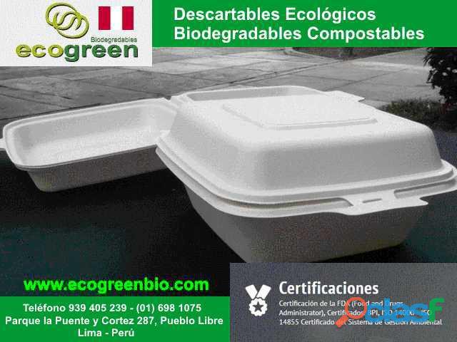 Biodegradables ecológicos para delivery de alimentos Lima