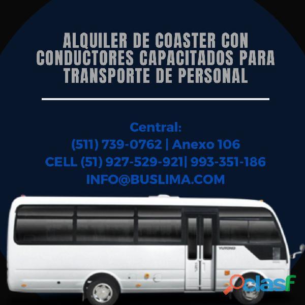 Alquiler de coaster para traslado de personal en Lima