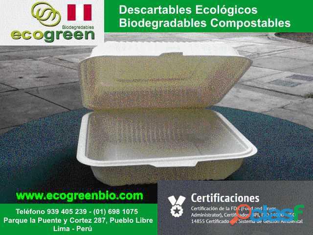 Biodegradables para alimentos delivery Lima Perú