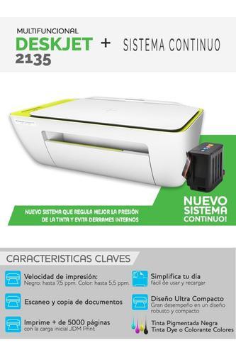 Impresora Hp Multifuncional 2135 Con Sistema Continuo