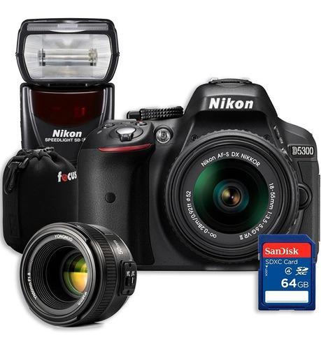 Kit Nikon D5300 + Flash Nikon + Lente 50mm + Sd 64gb + Funda