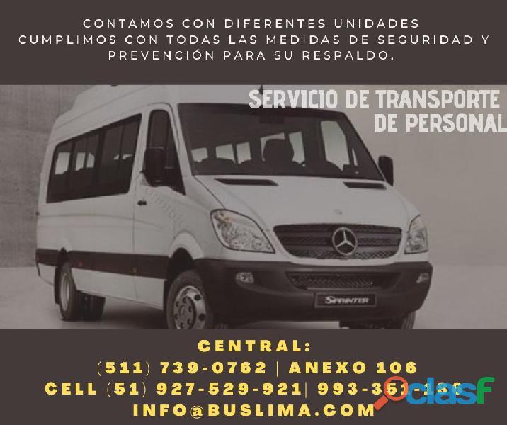 Contamos con diversas unidades para transporte de personal.
