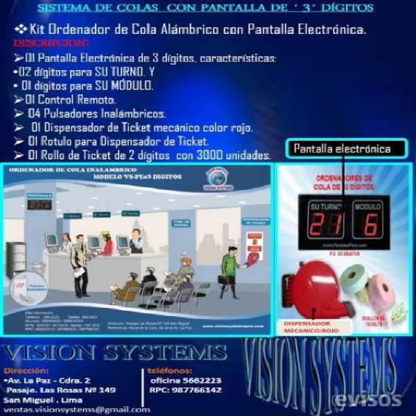 Sistemas de control de colas vs en Arequipa