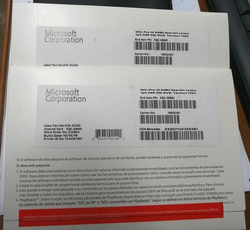 Windows 10 Pro 64 Bits Español Version 1903 Nuevo Sellado