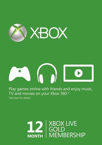 Xbox Live Gold 12 Meses - Xbox One - 360 Codigo Global