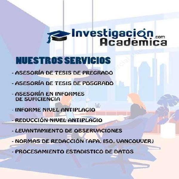 ASESORÍA DE TESIS PREGRADO, POSGRADO, SUFICIENCIA