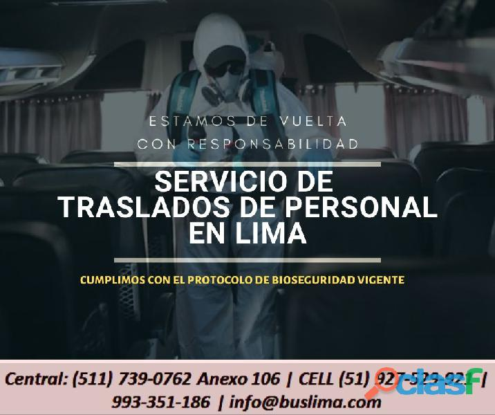 Servicios de transporte de Personal en Toda Lima. Lima
