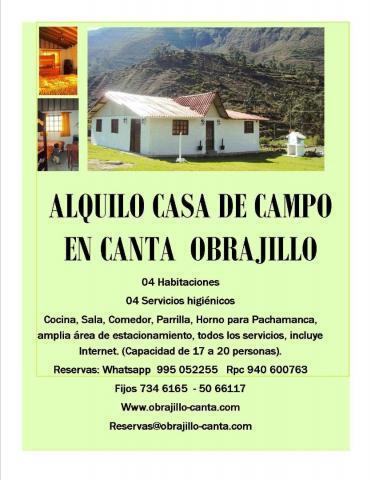 ALQUILO CASA DE CAMPO EN CANTA OBRAJILLO, A SOLO 2 HORAS DE
