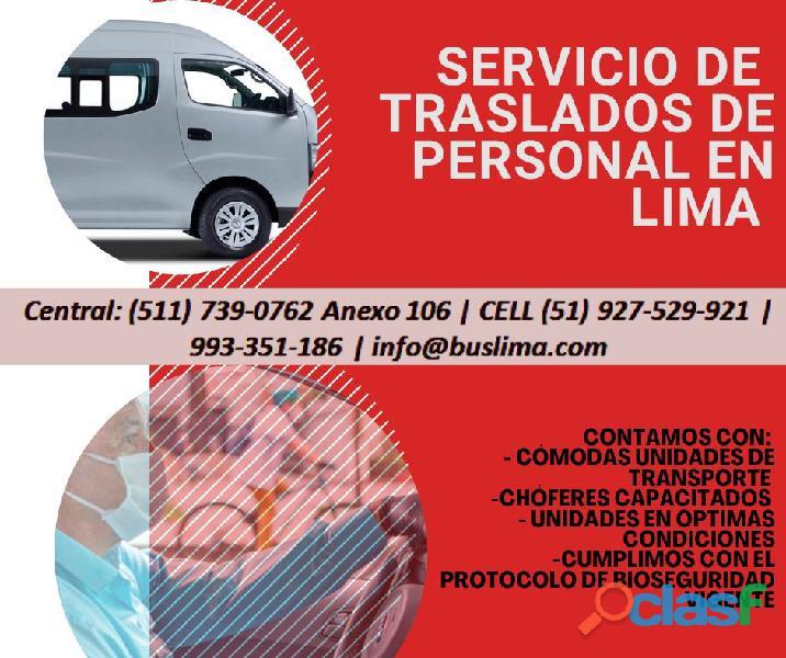 Transporte de personal para Empresas en Lima, contamos con