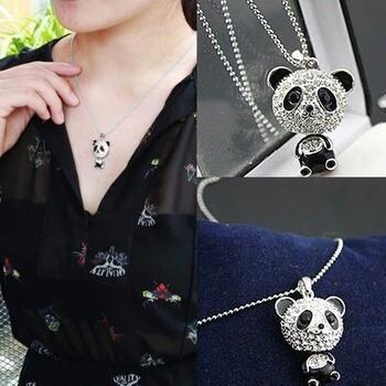 Collar De Moda Osito Panda Plateado
