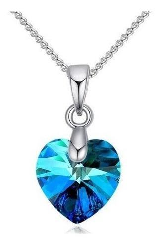Collar De Plata Para Mujer Cristal Corazón Swarovski Azul