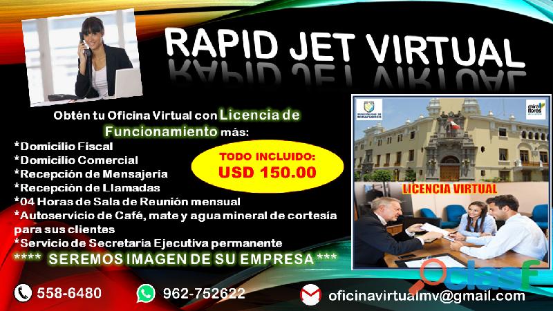 ALQUILER DE OFICINA VIRTUAL CON LICENCIA DE FUNCIONAMIENTO