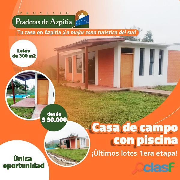 ¡Adquiere tu lote o tu casa de campo en Azpitia, la zona