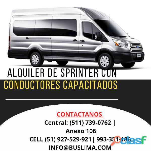 Alquiler de Sprinter con conductores Aptos para traslados