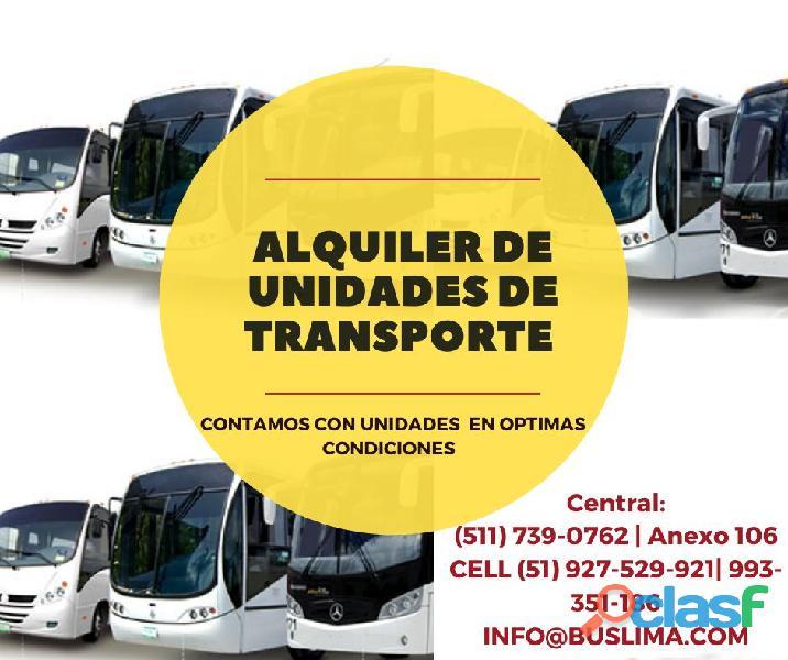 Alquiler de Unidades de Transporte Buses, Minibuses,