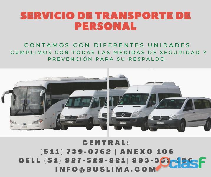 Servicios de transporte con Buses, Minibuses y Mas para