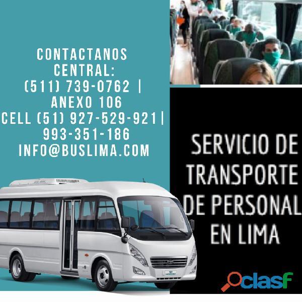 transporte de Personal con Unidades Modernas y equipadas en