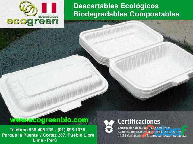 Biodegradables ecológicos PLATOS, BANDEJAS, BOWLS,