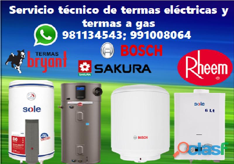 Servicio Tecnico de Termas AQUAMAXX, SOLE, BOSCH, RECCO,