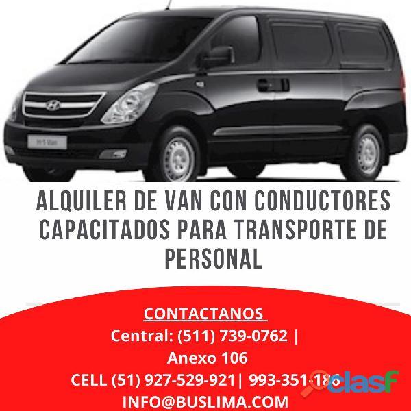 Alquiler de Van con CONDUCTORES CAPACITADOS PARA TRANSPORTE.