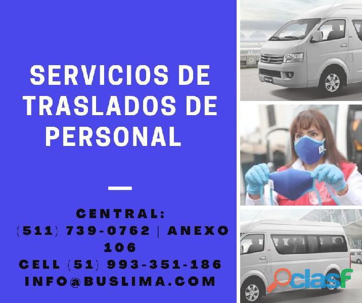 SERVICIOS DE TRANSPORTE DE PERSONAL CON UNIDADES MODERNAS Y
