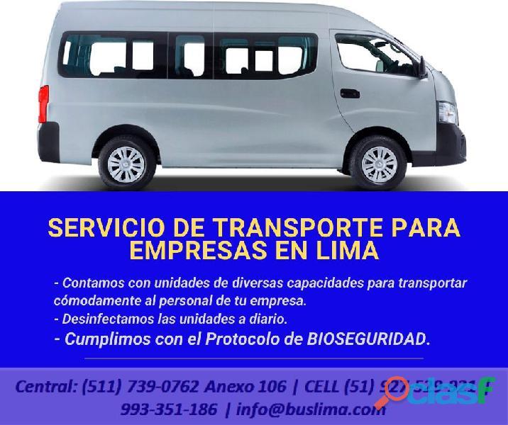 Servicios de TRANSPORTE para PERSONAL EN LIMA PERÚ con