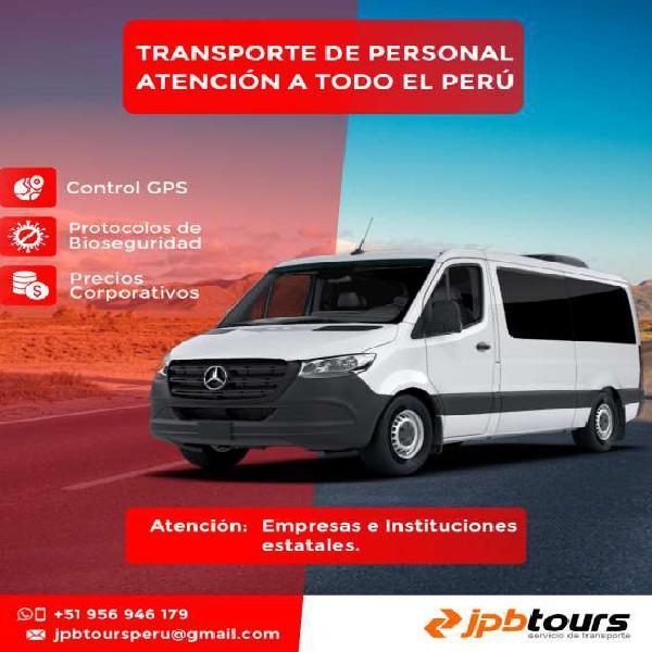 Transporte de personal servicio para traslado de personal de