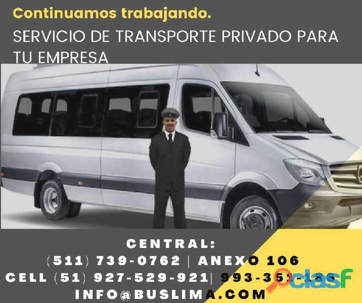 Alquiler de unidades de transporte de Personal en Lima Para