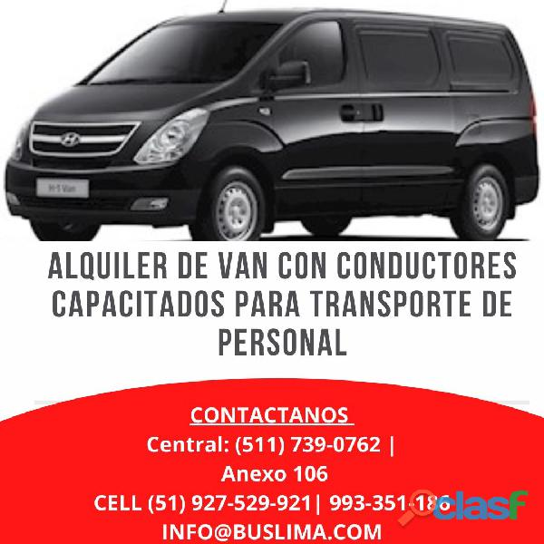 Alquiler de van con conductores capacitados en la Ciudad de
