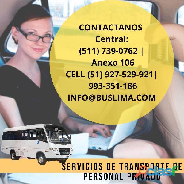 Servicio de traslados de personal en La ciudad de Lima.